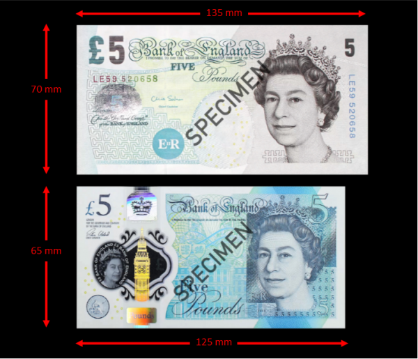 old and new five pound notes
