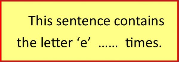 this sentence contains the letter e .... times