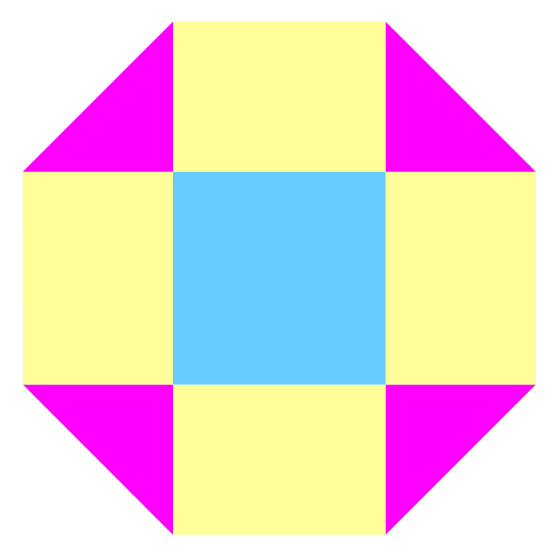 octagon split into triangles rectangles and square