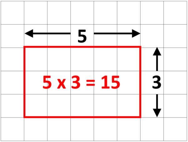 area of rectangle = length x width
